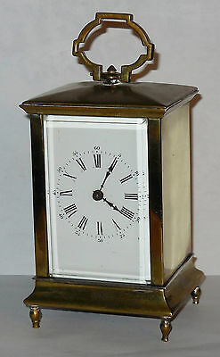 ANTIQUE FRENCH BRASS LANTERN / CARRIAGE CLOCK c.1890 8 DAY TIME ONLY WORKING