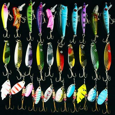 lot 30pcs metal fishing lures spinner spoon baits crankbait, Soft Baits