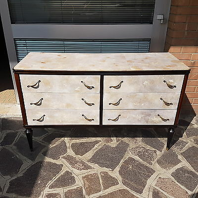 Beautiful Italian Design Chest Of Drawers Lacquered In Front From 1950