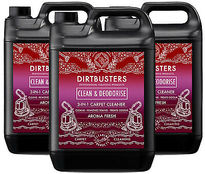 Carpet cleaning solution shampoo odour deodoriser Upholstery Cleaner 3x5L & vax