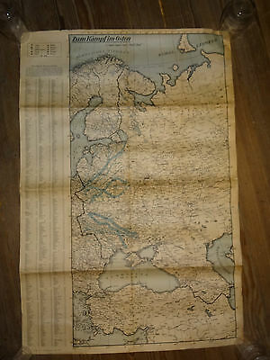 1941 WW2 Map, Plan German War-Time Map of East Front Die Post Zietung