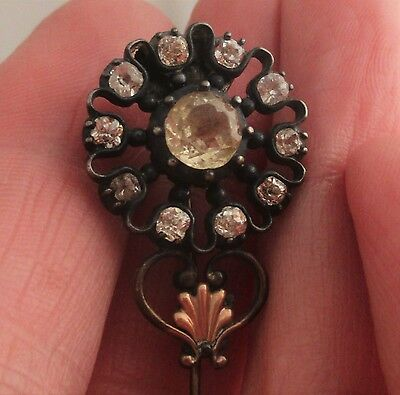 Georgian 9K Citrine Jargoon Flower Brooch