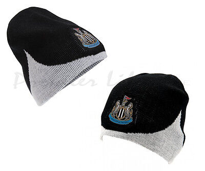 Newcastle United FC Official Wave Knitted Football Crest Winter Beanie Hat