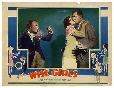 WISE GIRLS (1929) Lobby card ft. Nugent, Lee, Young w/John Held, Jr. border art