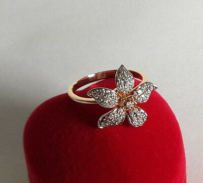 Modern engagement ring with flower+Free Gift