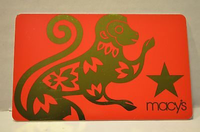 MACYS Chinese New Year Monkey 2016 COLLECTIBLE Gift Card NO VALUE Red Lunar Gift
