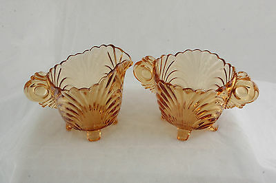 Cambridge Glass Caprice Pattern Elegant Amber Mocha # 38 Cream & Sugar Set