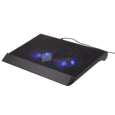 """USB LED Light 17"""" Laptop Notebook PC Powerful 2 Fans Cooling Cooler Stand Pad UK"""