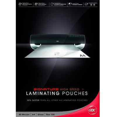 GBC A4 Laminating Pouches, 80 Micron Gloss 100 Pack, Laminate Film High speed