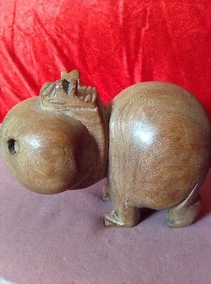 Unusual Old Amusing Carved Wooden Figure of a Hippopotamus With Oversize Head