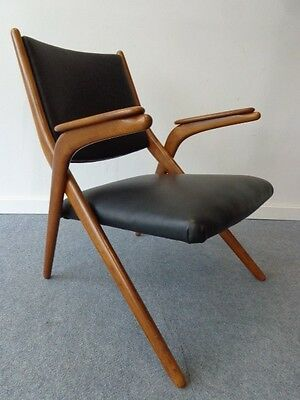 Vintage Boomerang Armchair Leather Danish Modern