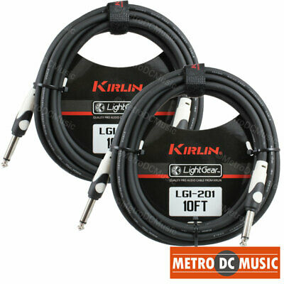 "2-Pack Kirlin 10 ft Guitar Instrument Patch Cable Cord Free Tie 1/4"" AWG20 NEW"