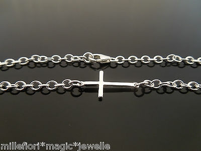 "Sterling Silver Bracelet Or Ankle Chain Anklet ~ Cross Charm 7"" 8"" 9"" 10"" 11"" 12"