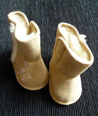 Baby clothes GIRL 0-3mbeige faux suede fleece-lined boots velcro fixing SEE SHOP