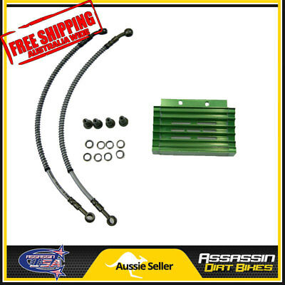 Green CNC oil cooler kit Radiator 140cc 150cc 160cc PIT PRO Trail Dirt Quad Bike