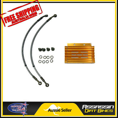 Gold CNC oil cooler kit Radiator 140cc 150cc 160cc PIT PRO Trail Dirt Quad Bike