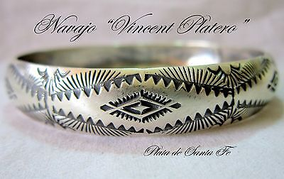 "Navajo Vincent Platero  One of a Kind  Hand Stamped 925 1/2"" Bangle"