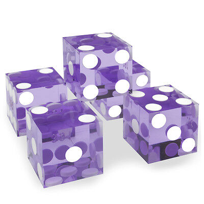 5x PURPLE precision dice - 19mm - poker, craps, backgammon, yahtzee, casino