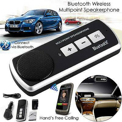 Wireless Bluetooth Car Kit Handsfree Speaker Voice Prompt For iPhone 6 5 Samsung