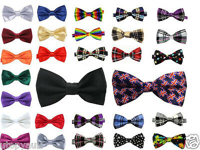 High Quality Satin Mens Adjustable PreTied Wedding Party Dickie Bow ties lot