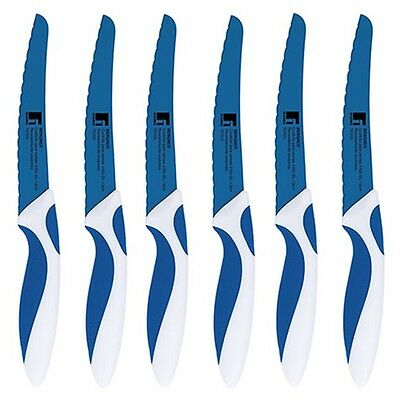 Bergner BG-4495-BL Steak Knives Blue & White Ceramic Knives Steak Knife Sets