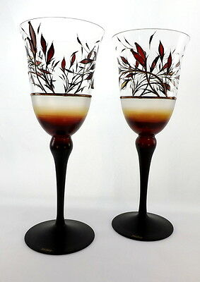 Handcraft Stunning Set Of 2 Wine Stained Glasses Gift Idea For Parents Couple