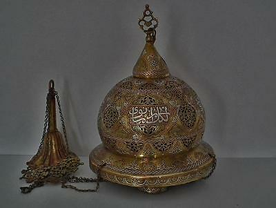 Antique Silver Inlaid Brass Islamic Mosque Lamp Turkish Ottoman Mamluk - Revival