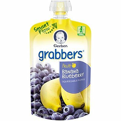 NEW Gerber Graduates Grabbers Banana Blueberry 4.23 Ounce 6 Count Pack of 2