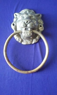 6 1/2''  Antique Ornate Architectural Bronze Lion Head Door Nicker