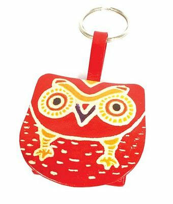 OWL COIN PURSE on KEYRING red & yellow recycled leather handmade fair trade NEW!