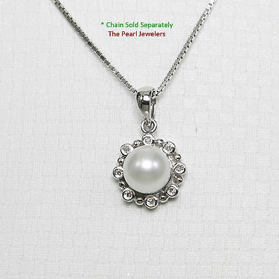 14k Solid White Gold White F/W Cultured Pearl Encircles, Diamonds Pendant TPJ