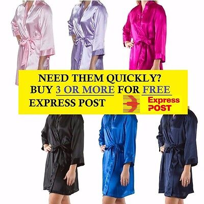 Plain Short Bridal Robe Wedding Party Bride To Be Bridesmaid Silk Dressing Gown