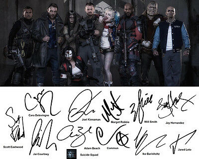 Suicide Squad Cast Signed Photo Autograph Reprint Will Smith Margot Robbie