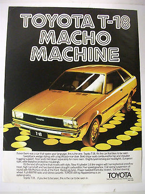 1980 Toyota T-18 Macho Machine Australian Magazine Fullpage Colour Advertisement