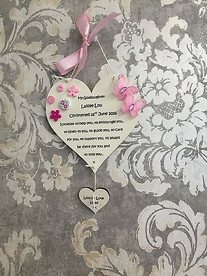 Christening Goddaughter Gift Plaque Heart Personalised Hand Crafted