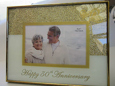 50th Wedding Anniversary Photo Frame Gold Glitter W Butterflies