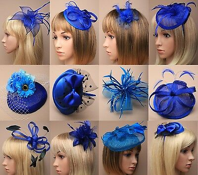Ascot/Races/Funeral Blue Flower/Hat Hair Fascinator Clip/Comb/Headband options