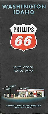 1960 PHILLIPS 66 Road Map WASHINGTON IDAHO Indian Reservations Airports Parks