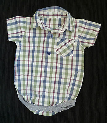 Baby clothes BOY 3-6m short sleeve check cotton shirt bodysuit-style SEE SHOP!