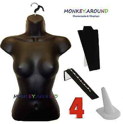 Lot 4 Mannequin Female BLACK Torso Body Form Display Clothing Jewelry Ring Neck