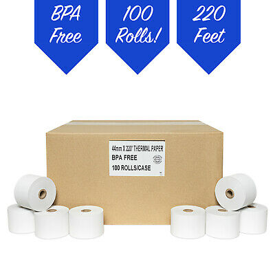 """1 3/4"""" (44mm) X 220' Thermal Paper 100 Rolls **FREE SHIPPING**"""