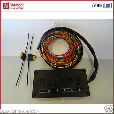 Vision Alert 12v 6 Way Illuminated Switch Panel - 7m of Cable