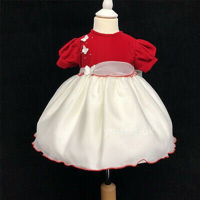 Stunning Baby Girl's Red Velvet Dress with Butterfly Detail/Occasion/Wedding