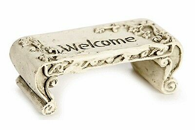 "RESIN MINIATURE WELCOME BENCH for FAIRY GARDEN 1.625"" x 1.75"" x 1"" CONCRETE-LOOK"