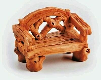 RESIN MINIATURE BENCH for FAIRY GARDEN WOOD-LOOK 1.5 x 2 inches by Yard & Garden