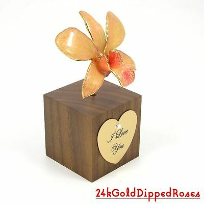 "2"" 24k Gold Dipped Pink Orchid in Square Stand (Free Anniversary Gift Box)"