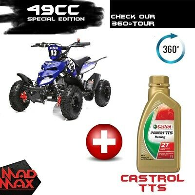2018 Ocean Blue 49cc Mini Atv Quad Bike Kids 4 Wheeler Dirt Buggy Pocket Bike