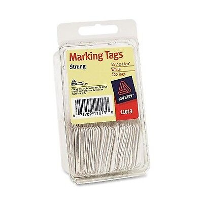 """Avery Marking Tags White 1-3/4"""" x 1-3/32"""" Strung 100 Pack (11013) Each Avery"""