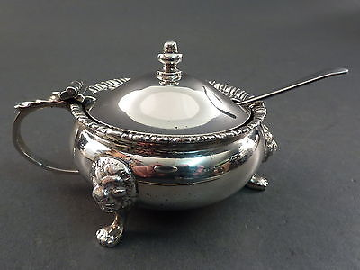 Large Heavy Solid Silver Mustard Pot On 3 Lion Mask Paw Feet, Blue Liner