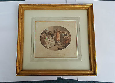 Antique Stipple Engraving 1790  'Dunce Disgrace' in 19th Century Gilt Frame